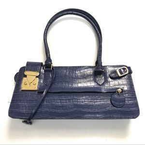 Melie Bianco Purple Vegan Croc Embossed Bag